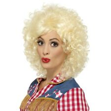 Dolly Wig Rodeo Country Western Blonde Curly Fancy Dress Costume Accessory