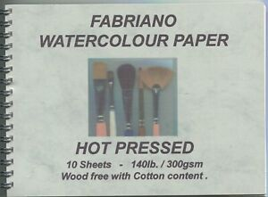 """A pad of 10 sheets of """" FABRIANO WATERCOLOUR PAPER """"  300gsm. - H. P. Surface ."""