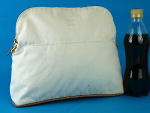 Authentic Hermes Canvas GM Bolide White Ivory Cosmetic Pouch Hand Bag Purse Used
