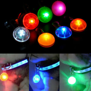 Pet Dog Cat Puppy LED Flashing Collar Tag Clip Buckle Safety luminous Pendant