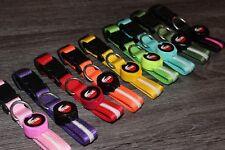 LED Nylon Adjustable Dog Collar/Leash Light up or Flash- Night Safety-US SELLER