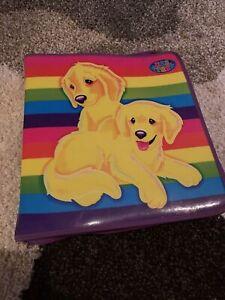 VINTAGE LISA FRANK DOG PUPPY GOLDEN RETRIEVERS 3 RING BINDER RARE CASEY CAYMUS