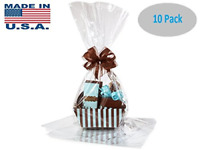 10 Pack Flat Large 18 In X 30 In Clear Cellophane Bags Gift Basket Bags Cello US