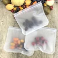 5/1PCS Kitchen Fresh Zip lock Bag Reusable Silicone Food Freezer Storage Bags