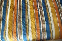 8Y + Vintage 1970s Heavy Velvet Upholstery Fabric Stripe Gold Orange Blue Groovy