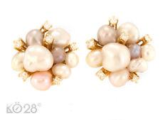Ear Clips 750 Yellow Gold Fresh Water Pearls 12 Diamonds ca.0, 32 CT (21172)