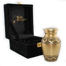 Bronze Metal Cremation Urn Keepsake for Human Ashes With Velvet Bag NEW