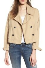 BP. Nordstrom khaki lightweight jacket women sz Large BNWT raw edge crop trench