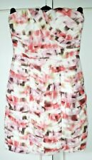 H & M Stunning Size 10 White Pink Green Gathered Ruched Strapless Dress !!