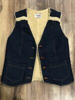 Vintage  Four Seasons Denim Jean Sherpa Fleece Lined Snap Vest Size Small