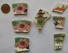 Broken Vintage China Tiles for Mosaic/Art: Hand Painted Japanese Motifs