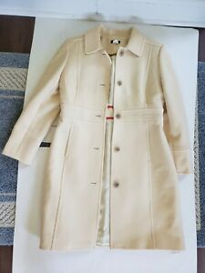 j.crew coat Women's Cream Ivory Peacoat Wool Long Jacket RN77388 Size 4