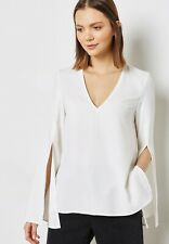 Top Shop White Ivory Women's Split Sleeves V-Neck BlouseSize 6