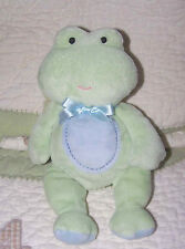 "Just One Year Plush Blue/Green Froggy Frog Stuffed Floppy Baby Toy 8"" EUC"