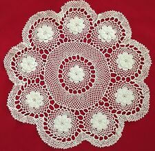 "White 15"" Round Floral Crochet Doilie"