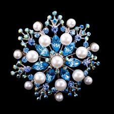 Handmade Aqua 5.5cm Swarovski Elements Silver Vintage Crystal & Pearl Brooch 02A