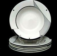 Optima Angles 6 Soup Bowls 9.5 inch Black White Geometric Christopher Stuart EUC