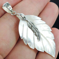 Small MOTHER OF PEARL & 925 Sterling Silver Pendant Jewellery, Leaf Shape
