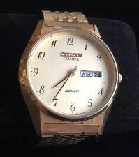 Vintage Citizen Quartz Seven Wristwatch Round Date & Day Gold Tone