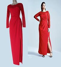 COAST Reeva Red Dress Jersey Lace Long Sleeves Cocktail Maxi  UK 10  EU 38  £110