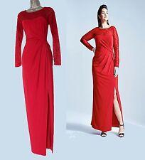 COAST Reeva Red Jersey Lace Long Sleeves Cocktail Maxi Dress UK 10  EU 38  £110