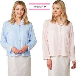 LADIES WAFFLE BUTTON THROUGH  BED JACKET  S TO L BLUE OR PINK  MA24223