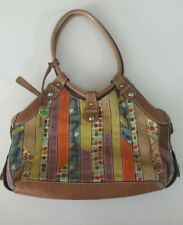 Fossil 1954 Vintage Patchwork Cognac Brown Tan Leather Satchel Purse Handbag