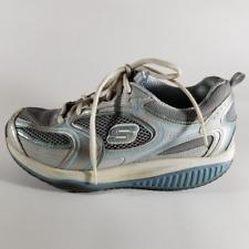 Skechers Shape Ups Women's White & Blue Lace Up Walking Toning Shoes | Size 7.5