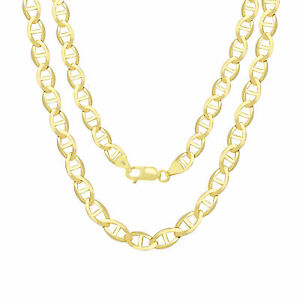 """10K Yellow Gold Solid Mens 6mm Mariner Anchor Gucci Link Chain Necklace 18""""- 30"""""""