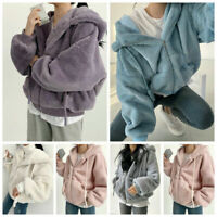 Damen Thicken Fluffy Kunstpelz Hoodie Sweatshirt Outwear Winter Warmer Jacken