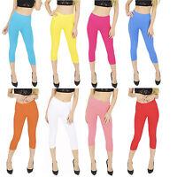 Plain Womens Cropped 3/4 Cotton Leggings Plus Sizes 20 22 24 26 28 30 Summer V1