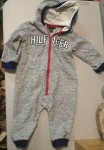 Tommy Hilfiger Baby Boys One Piece Marled Fleece With Hoodie Size 6-9M