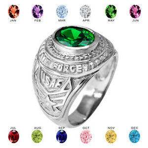 Solid 10k White Gold US Air Force Men's CZ Birthstone Ring