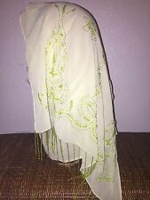 Green Long Scarf Hijab Wrap Sheer pretty handmade fashionable W/tassels Last 1