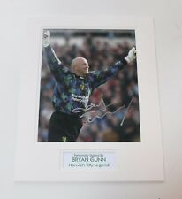 BRYAN GUNN In Norwich City Shirt HAND SIGNED Autograph Photo Mount Display COA