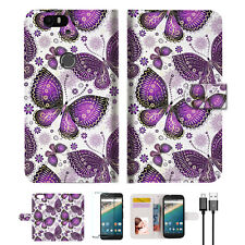 Purple Butterfly Wallet Case Cover For Google Pixel 2 XL-- A017