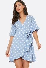 Womens Powder Blue Spot Ruffle Wrap Dress Blue