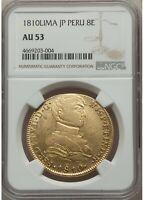 1810 Peru 8 escudos Lima Imagined Imaginary Bust gold Ferdinand NGC AU 53