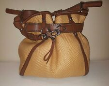 FRANCESCO BIASIA Electra Woven Straw/Faux Leather Strap/Snap Detailed Tote Bag