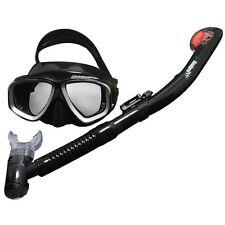 Adult Professional Scuba Diving Mask Dry Snorkeling Set Black/Grey Qs-J02