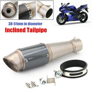 Universal Dia.38-51mm Motorcycle Scooter Exhaust Muffler Pipe Inclined Tailpipe