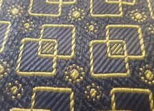 "UNKNOWN DESIGNER VINTAGE MENS TIE BLUE GOLD ART DECO 3.75"" x 60"""