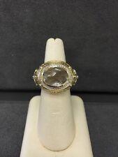 14k Yellow Gold Ladies White Topaz And Diamond Ring
