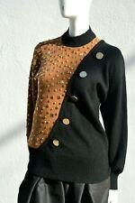 Vintage 80's LILLIE RUBIN hand studded baroque Hip Hop sweater chic color block