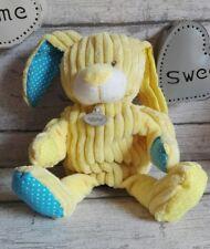 Doudou Baby Nat lapin chien marionnette velours côtelé jaune bleu pois