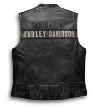 Harley Davidson Cafe Racer Black Passing Link Vest Genuine Leather Jacket Vest