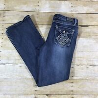 Earl Embellished Boot Cut Jeans Size 8 Bling Flap Pockets Med Dark Wash Stretch