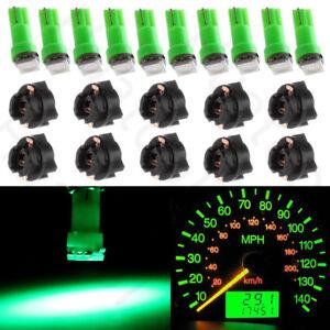 10Pcs Green T5 37 LED Instrument Panel Light Dash Indicator Bulbs + PC74 Sockets