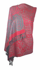 Designer Red Paisley Shawl Scarf Wrap Pashmina Warm Soft with Pillow Gift Box