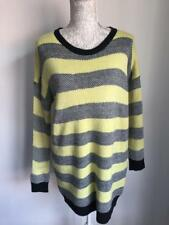 Atmosphere Black Lime Green Womens Jumper Size 10 Oversized Striped (041)